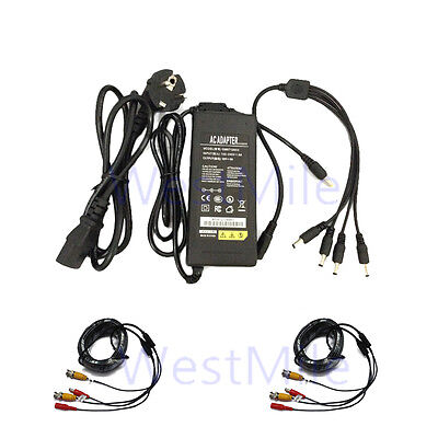 DC12V5A power Supply 4 ports Spliter 18M Video Bnc Power Cable For CCTV System