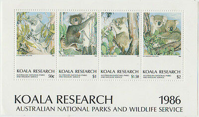 Koala Research Australian 1986 National Parks & Wildlife mini sheet