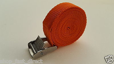 25mm High Vis Cam Buckle Strap 1.5 Meters Heavy Duty Load Securing Orange Qty 10