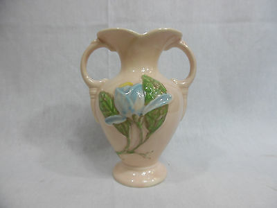 """Hull Art Double Handled Vase H-1-5 1/2"""" Pink and Blue Floral Pottery USA"""