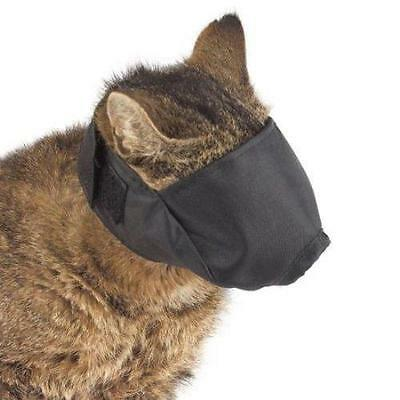 Cat Grooming Muzzle ADJUSTABLE black nylon, quick fit, washable, snout, groomer