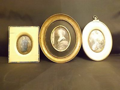 Antique lot of 3 miniature wood celluloid brass wood  glass pictures frames