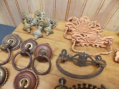 Collection of antique drawer pulls cast pressed brass steel iron furniture parts