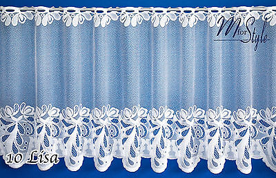 "Christmas Cafe Net Curtain White Mistletoe 14"" 20"" 28"" Drop Sold by the metre"
