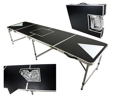 New 8' Aluminum Beer Pong Table Ice Bag Cooler Folding Tailgate Drinking Game #3