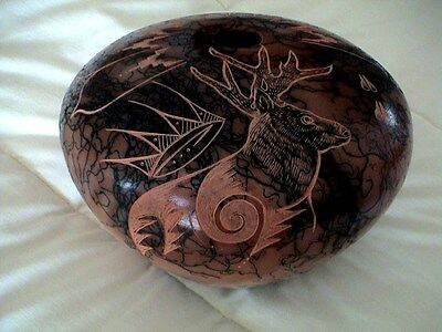 "Auth.Native American Navajo Large Incised ""Elk"" Horse Hair Pottery by Hanna Jay"