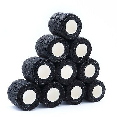 20 BANDAGES COHESIVE WRIST ANKLE OR DOGS CATS ANIMALS 5cm x4.5mt BLACK