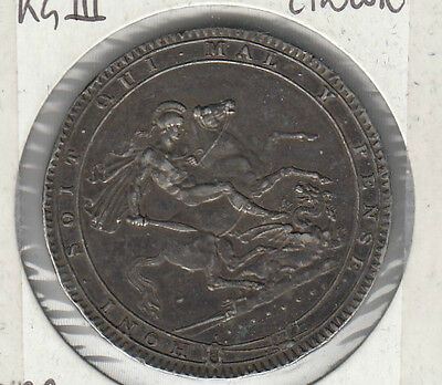 Coin 1819 England George 3rd silver crown in extremely fine condition, inscribed