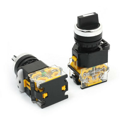 2 Pcs 380V 10A 22mm DPST 1NO 1NC 4 Screw Terminals Rotary Select Switch
