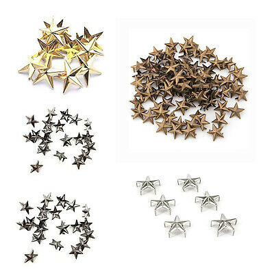 50 x Star Nail Head Punk Studs and Goth Spikes Leather Craft 10mm, 15mm, 20mm