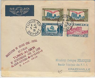 AIRMAIL 1st FLIGHT COVER - TUNISIA : Tunis / Alger 1938