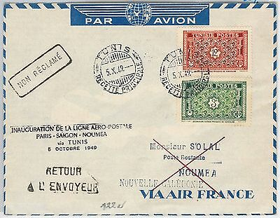 AIRMAIL 1st FLIGHT COVER - TUNISIA :  PARIS / SAIGON / NOUMEA via TUNIS 1949