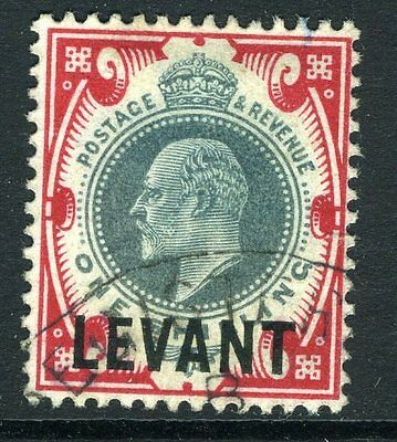 BRITISH LEVANT-1905-12  1/- Dull Green and Carmine OVPT Levant VFU Sg L10