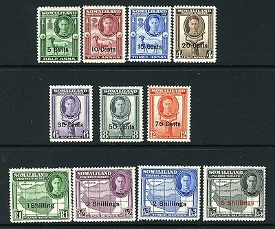 SOMALILAND-1951 New Currency Set.   A mounted mint set Sg 125-135
