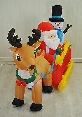 Inflatable Reindeer and Sleigh by Kingfisher Christmas / Xmas Decoration