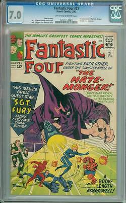 Fantastic Four # 21  First appearance The Hate-Monger !  CGC 7.0 scarce book !