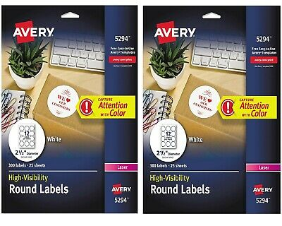 Avery Laser Burst Round Labels Customized Labels Designed 300 Per PK - New