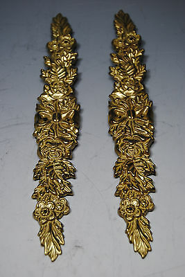 """Lot of 2 1989 """"The Bombay Co."""" Ornate Floral Brass Fixture Plates 8""""x 1"""""""
