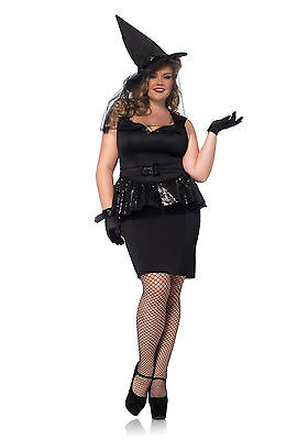PLUS SIZE Black Magic Mistress Witch Outfit Adult Halloween Party Costume NEW