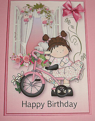 Handmade Greeting Card 3d Happy Birthday With A Girl And Her Bike