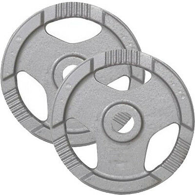 """2 x EVINCO 1.25kg (2.5kg Total) Cast Iron Tri-Grip Olympic 2"""" Weight Plates Disc"""
