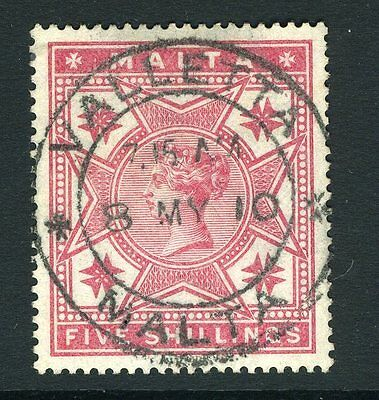 MALTA-1886 5/- Rose.   A very fine used example Sg 30