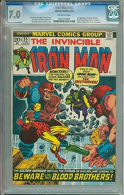 Iron Man # 55  Starlin First Thanos, Drax the Destroyer !  CGC 7.0 scarce book !
