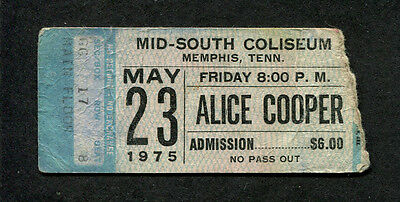 1975 Alice Cooper unused full concert ticket Memphis TN Welcome To My Nightmare