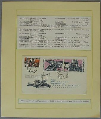 s1132) Raumfahrt Space Gemini 3 Flight - John Young Autograph on CSSR stamp FDC