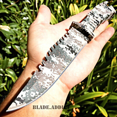 "10"" FULL TANG TACTICAL SURVIVAL Rambo Hunting FIXED BLADE KNIFE Army CAMO Bowie"