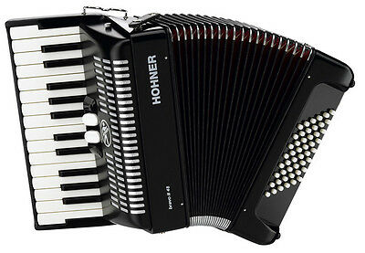 BRAND NEW Hohner Bravo II 48 Bass Accordion - Great for Beginners! IN BLACK