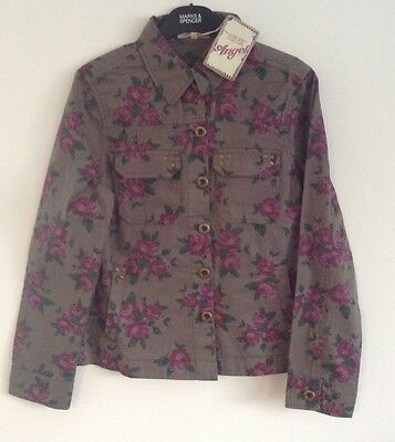 M&S Girls Teens Floral Angel Pure Cotton Jacket Sz XS S Rrp £28