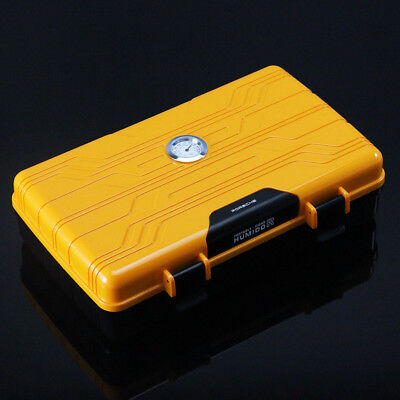 10 Count Orange Cigar Travel Humidor Box Case W/ Luxurious Lighter Set