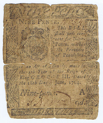 Franklin 1764 Pennsylvania 9 Pence Signed S. Neave Schuylkill Fishing Co Founder