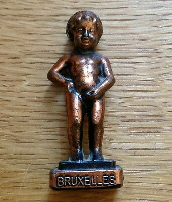 """Vintage BRUXELLES Metal Peeing Boy Figure 3"""" Tall Copper Colored"""