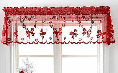 Cafe Net Curtain Pelmet Romantic Red Hearts  Slot Top Ready Made