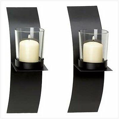 Gifts & Decor Modern Art Candle Holder Wall Sconce Plaque Set of 2 39066 Plaques