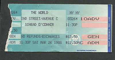 1988 Sinead O'Connor Concert Ticket Stub Lion And The Cobra The World Club NY