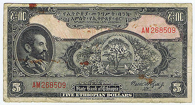 ETHIOPIA with HAILE SELASSIE 5 DOLLARS PICK # 13c by SECURITY BANKNOTE COMPANY