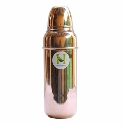 Traveller's 100 % Pure Copper Water Bottle with Cup for Ayurvedic Health Bene...