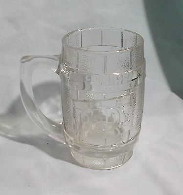 "Dad's Root Beer mug 5 1/4"" tall clear glass handle vintage 12 oz."