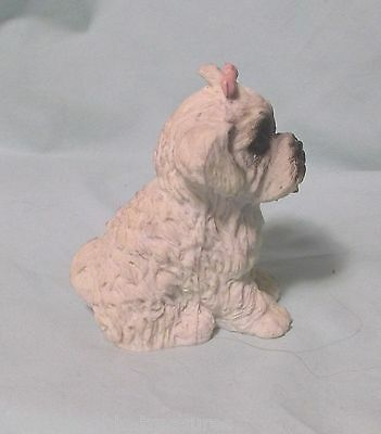 terrier lhasa apso white puppy dog figurine Brinnco resin shaggy pink ribbon
