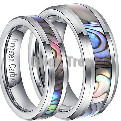 New 2x Matching Tungsten Carbide Ring Set Mens Lady Wedding Band Abalone Couple