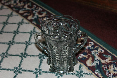 Antique Victorian Double Handle Clear Glass Vase-Ribbed Body-Scalloped Top-ODD