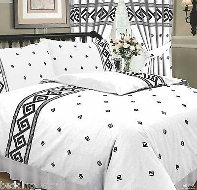 Athens White Black Greek Key Rope Effect Ancient Reversible Bedding Or Curtains