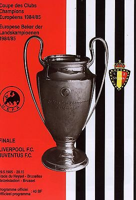 1985 EUROPEAN CUP FINAL JUVENTUS v LIVERPOOL MINT PROGRAMME