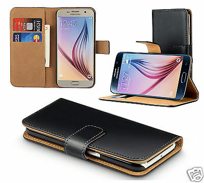 Genuine Real Leather Slim Flip Wallet Case Cover For Samsung Galaxy S6 Edge