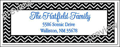 Black Chevron Print Family Name Labels -  Laser Return Address Labels