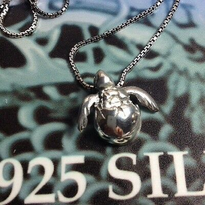 Lovely Silver 925 Baby Sea Turtle Hatching From Egg Pendant Great Gift  Bag