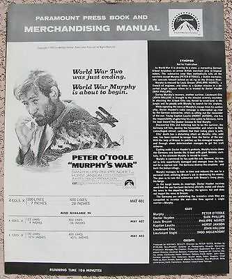 MURPHY'S WAR Peter O'Toole WWII U Boat Submarine 1971 US MOVIE PRESSBOOK